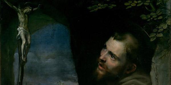 Un dettaglio delle opere della mostra Francesco nell'arte. Da Cimabue a Caravaggio